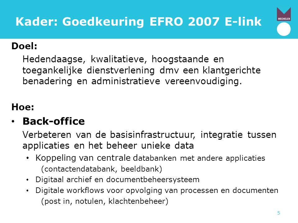 Kader: Goedkeuring EFRO 2007 E-link