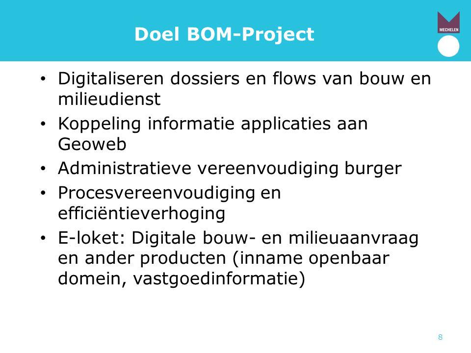 Doel BOM-Project Digitaliseren dossiers en flows van bouw en milieudienst. Koppeling informatie applicaties aan Geoweb.