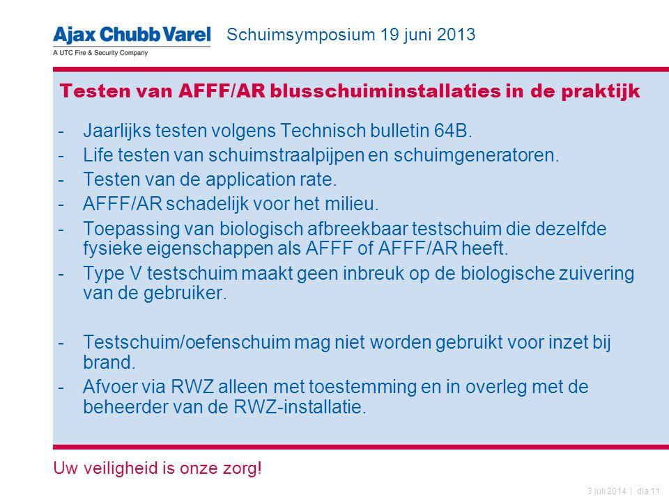Testen van AFFF/AR blusschuiminstallaties in de praktijk