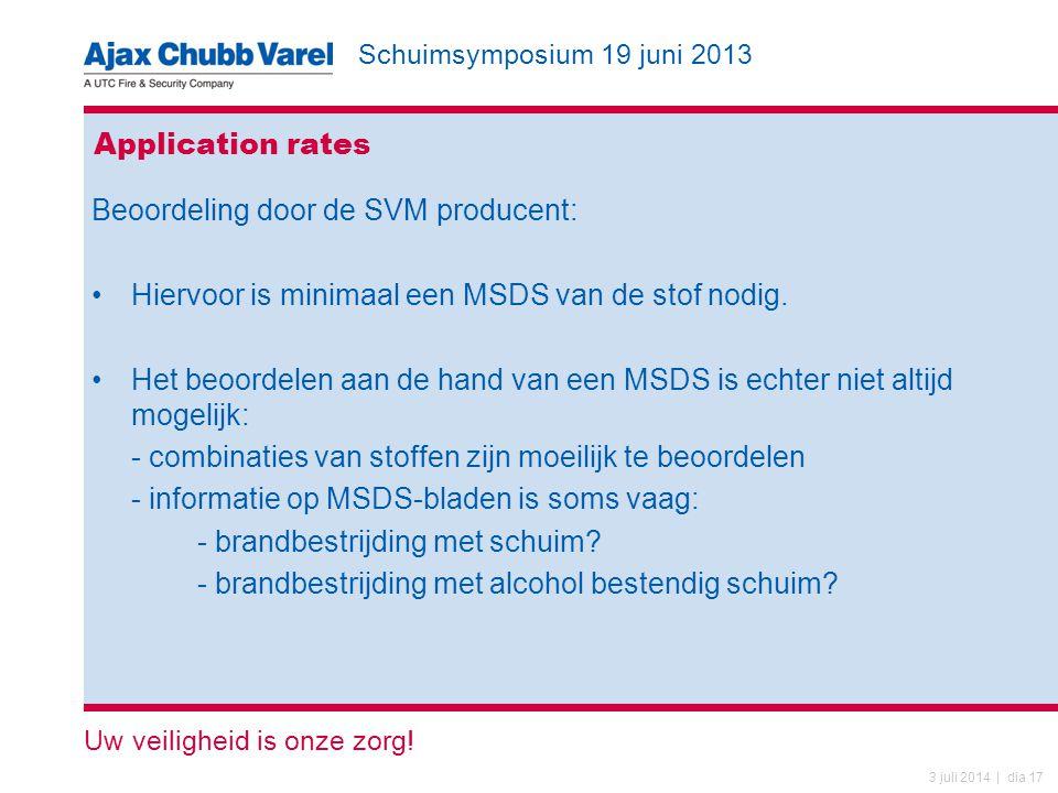 Application rates Beoordeling door de SVM producent: Hiervoor is minimaal een MSDS van de stof nodig.