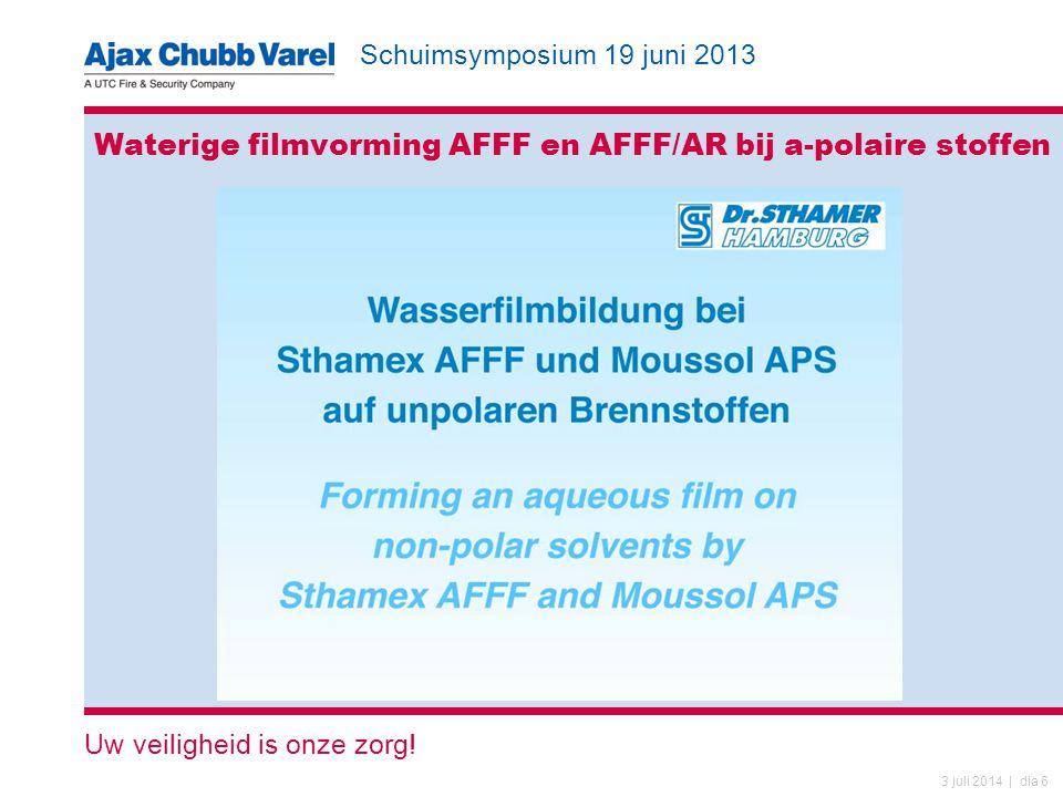 Waterige filmvorming AFFF en AFFF/AR bij a-polaire stoffen