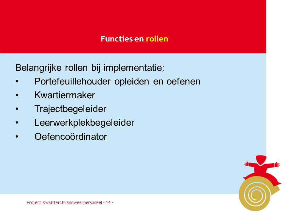 Belangrijke rollen bij implementatie: