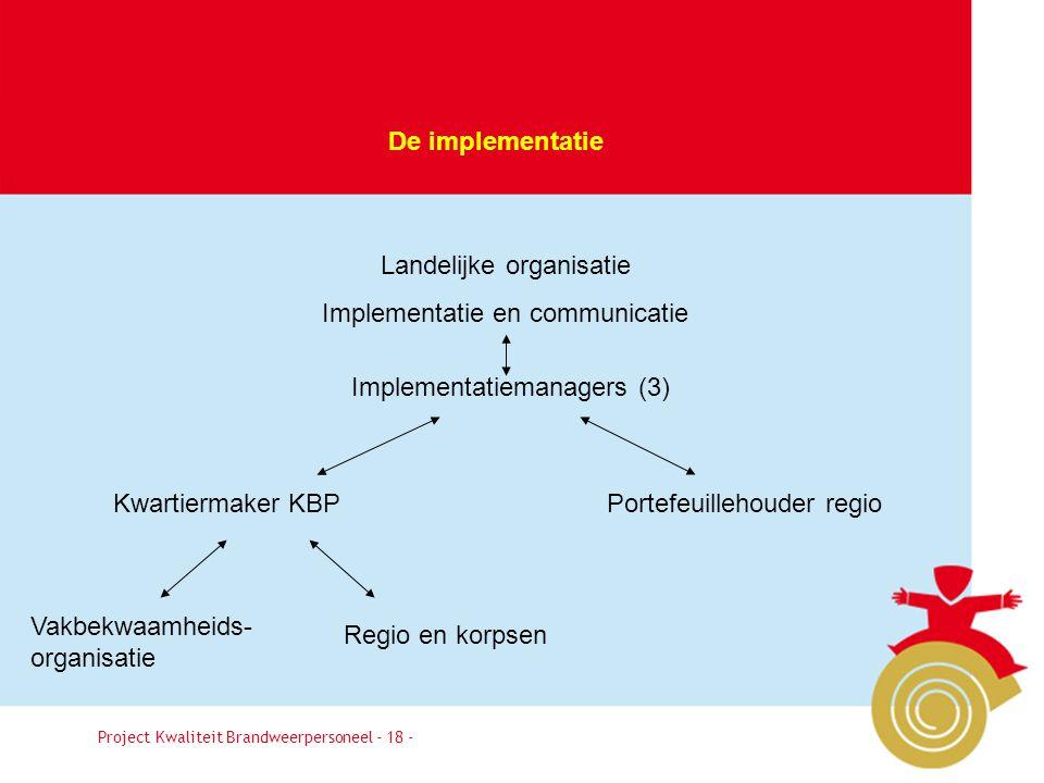 Landelijke organisatie Implementatie en communicatie