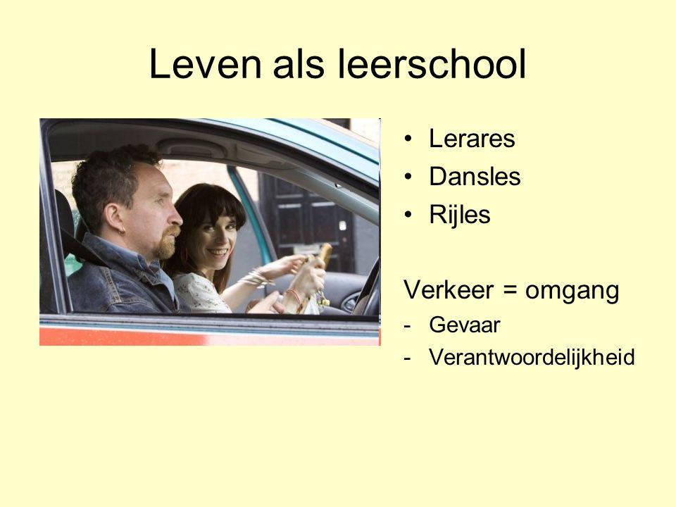 Leven als leerschool Lerares Dansles Rijles Verkeer = omgang Gevaar