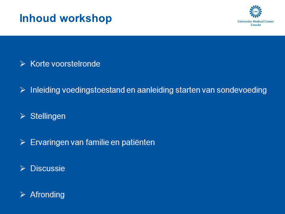 Inhoud workshop Korte voorstelronde
