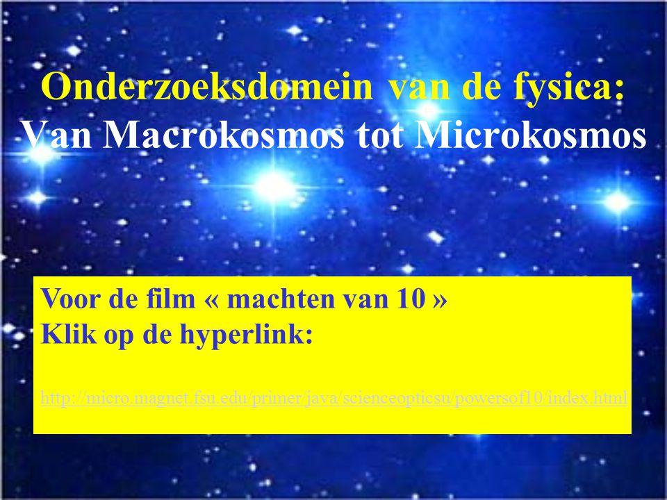 Onderzoeksdomein van de fysica: Van Macrokosmos tot Microkosmos