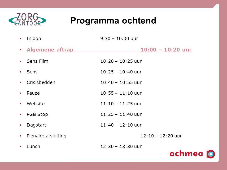 Programma ochtend Algemene aftrap 10:00 – 10:20 uur