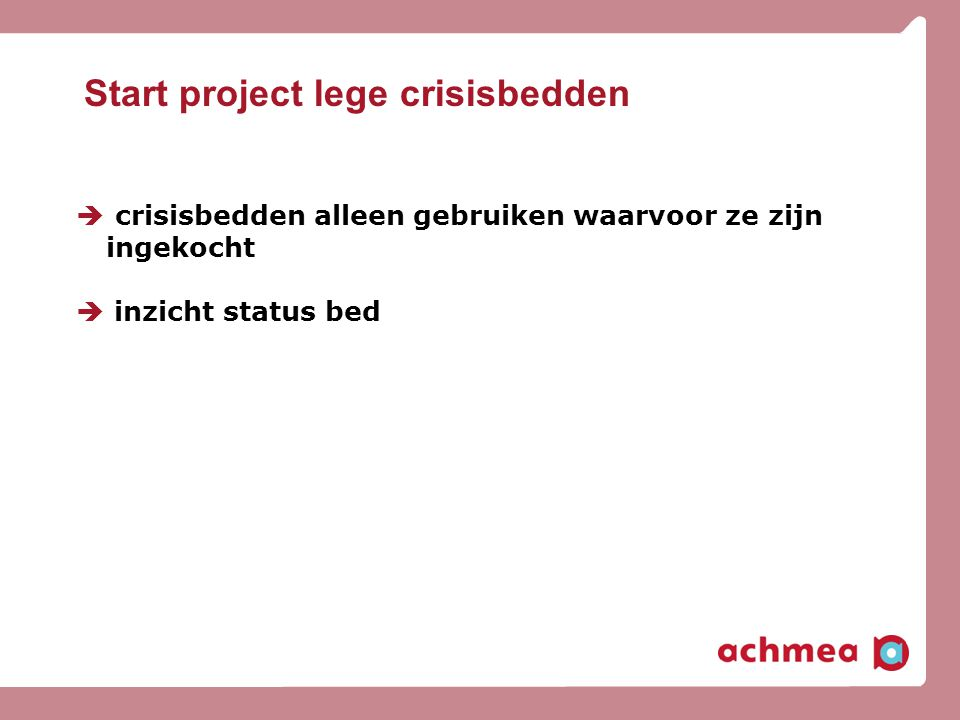 Start project lege crisisbedden