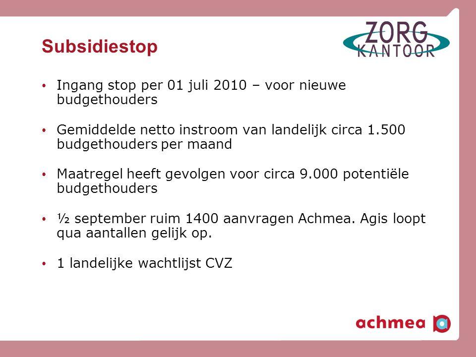 Subsidiestop Ingang stop per 01 juli 2010 – voor nieuwe budgethouders
