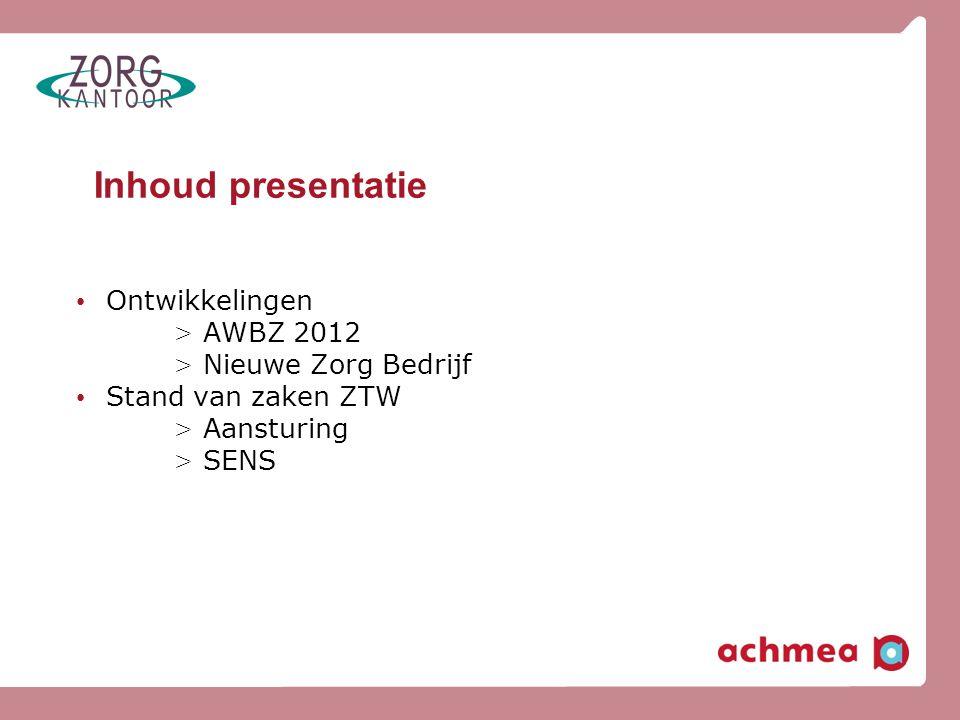 Inhoud presentatie Ontwikkelingen AWBZ 2012 Nieuwe Zorg Bedrijf