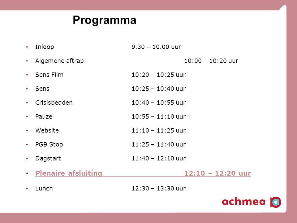 Programma Plenaire afsluiting 12:10 – 12:20 uur