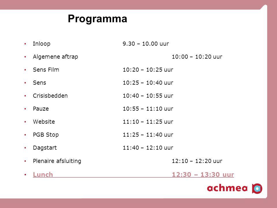 Programma Lunch 12:30 – 13:30 uur Inloop 9.30 – 10.00 uur