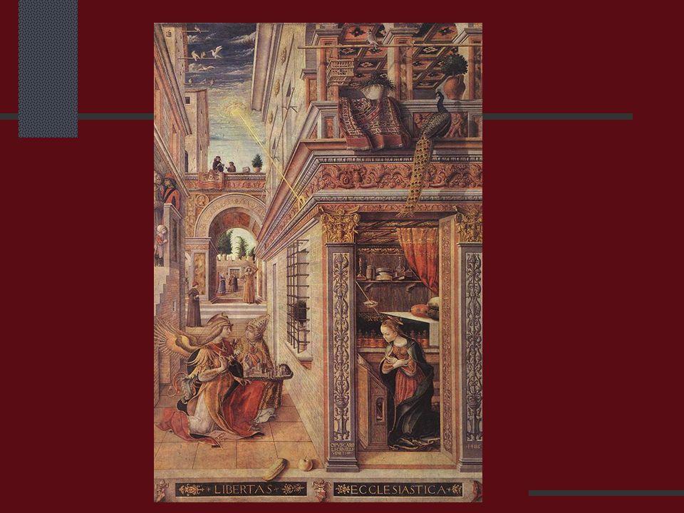 Annunciatie (boodschap aan Maria) van Carlo Crivelli (1486), roosters aanwezig : vloer + traliewerk.