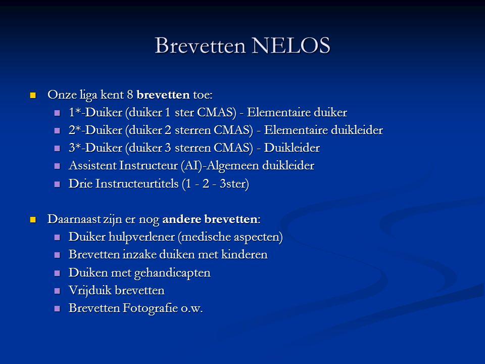 Brevetten NELOS Onze liga kent 8 brevetten toe: