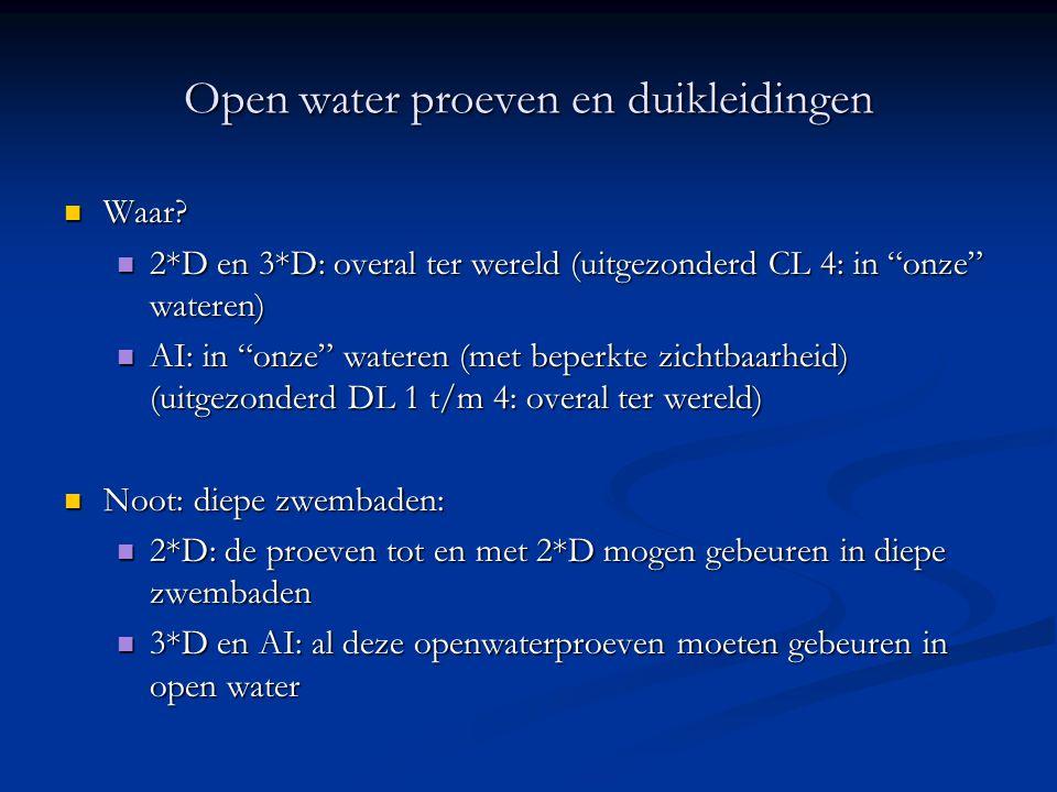 Open water proeven en duikleidingen