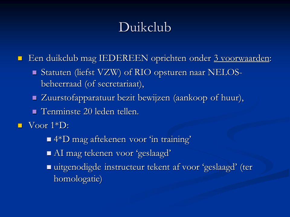 Duikclub Een duikclub mag IEDEREEN oprichten onder 3 voorwaarden: