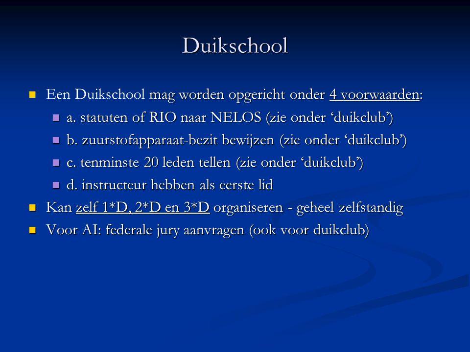 Duikschool Een Duikschool mag worden opgericht onder 4 voorwaarden: