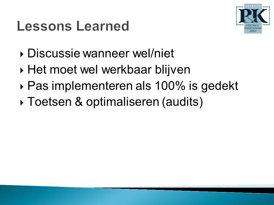 Lessons Learned Discussie wanneer wel/niet