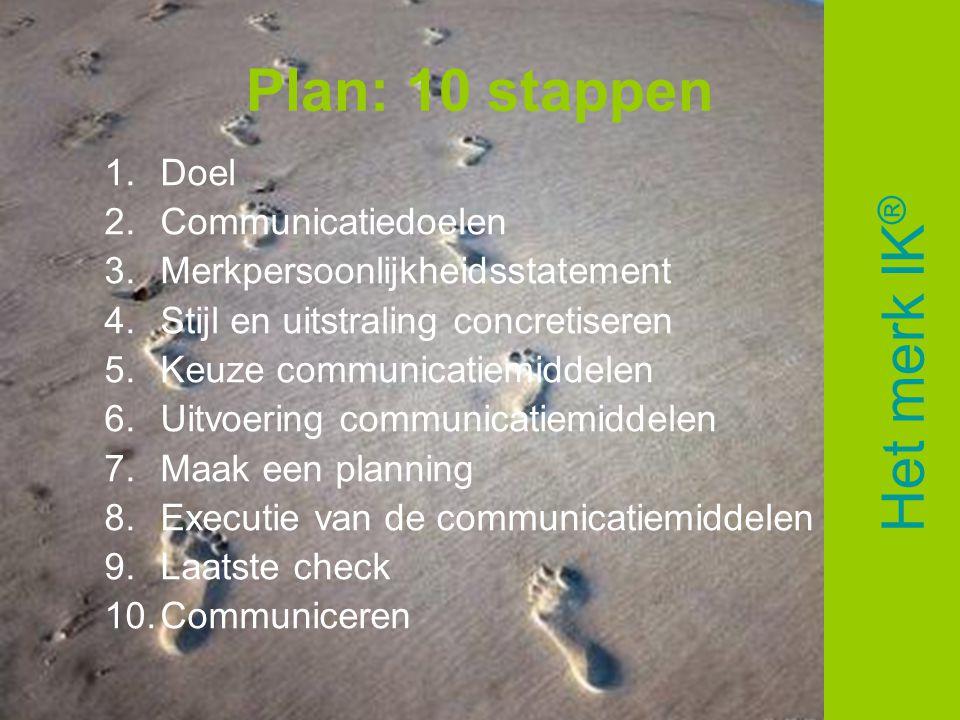 Plan: 10 stappen Het merk IK® Doel Communicatiedoelen