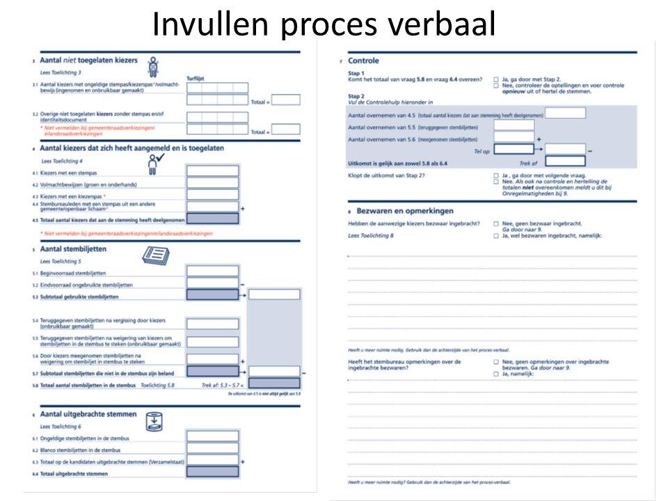 Invullen proces verbaal