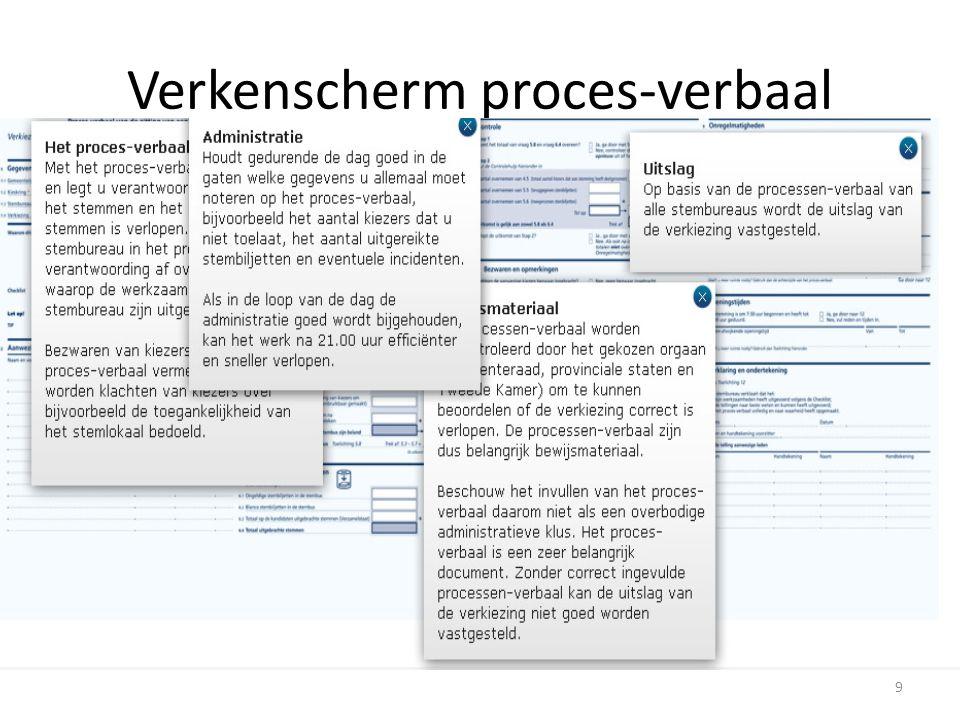 Verkenscherm proces-verbaal