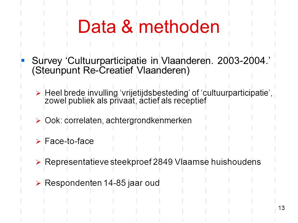 Data & methoden Survey 'Cultuurparticipatie in Vlaanderen. 2003-2004.' (Steunpunt Re-Creatief Vlaanderen)