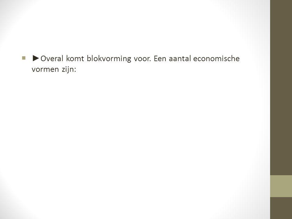 ►Overal komt blokvorming voor. Een aantal economische vormen zijn: