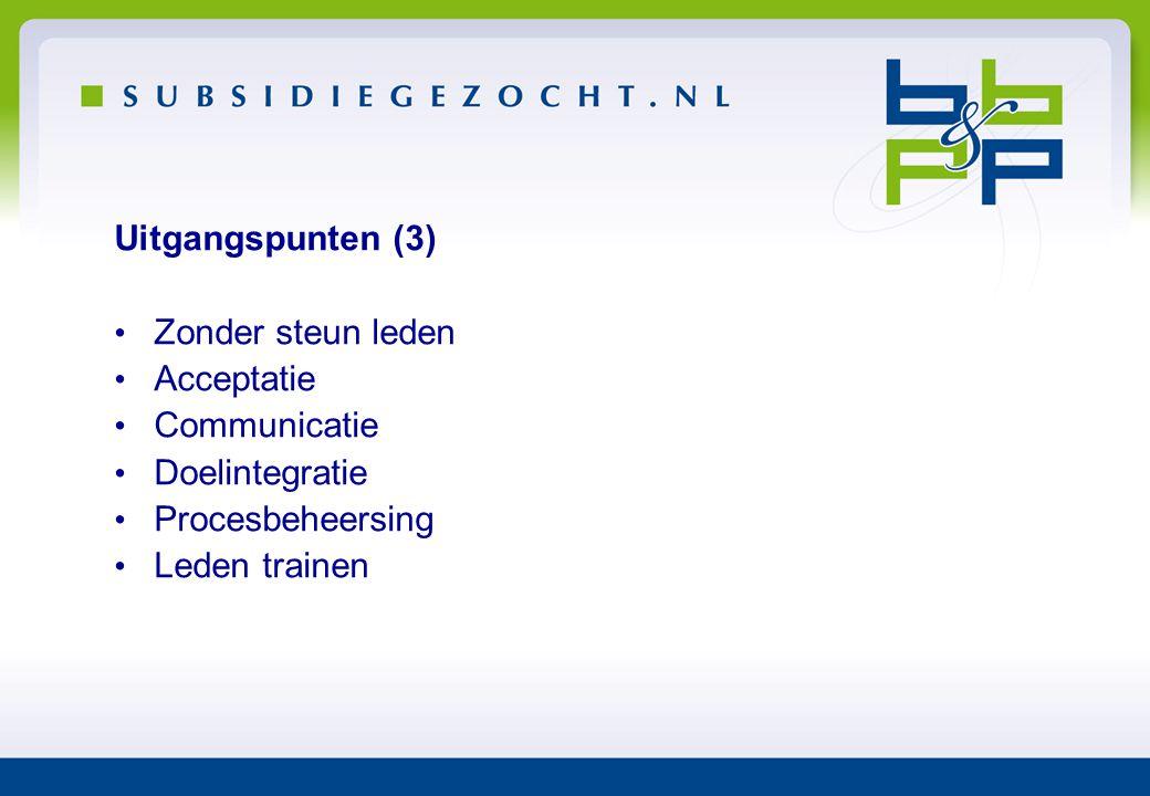 Uitgangspunten (3) Zonder steun leden. Acceptatie. Communicatie. Doelintegratie. Procesbeheersing.