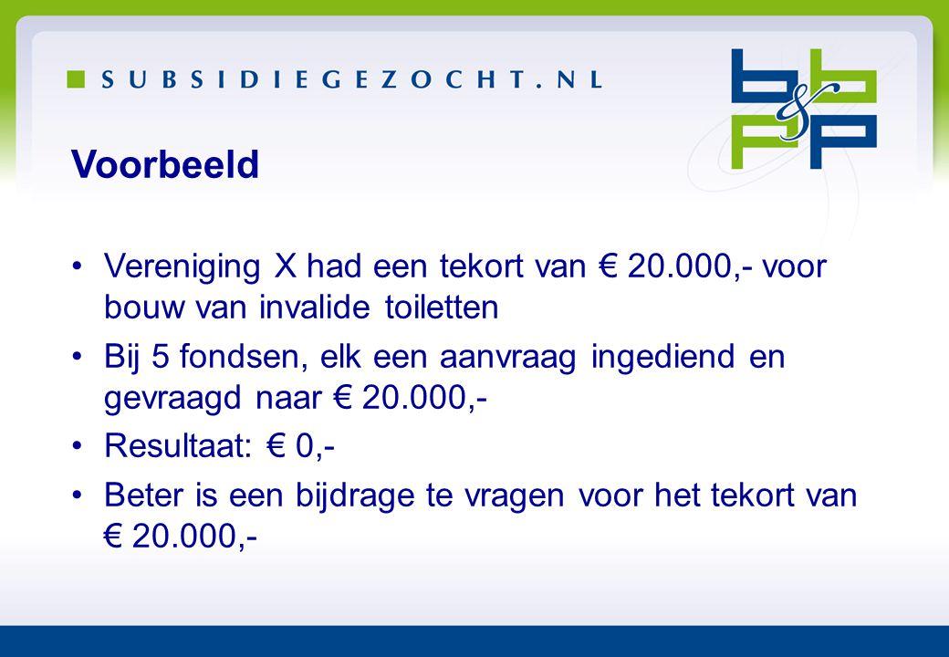 Voorbeeld Vereniging X had een tekort van € 20.000,- voor bouw van invalide toiletten.