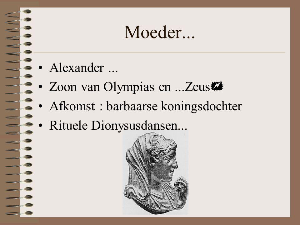 Moeder... Alexander ... Zoon van Olympias en ...Zeus