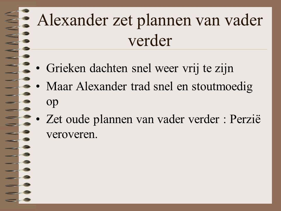 Alexander zet plannen van vader verder