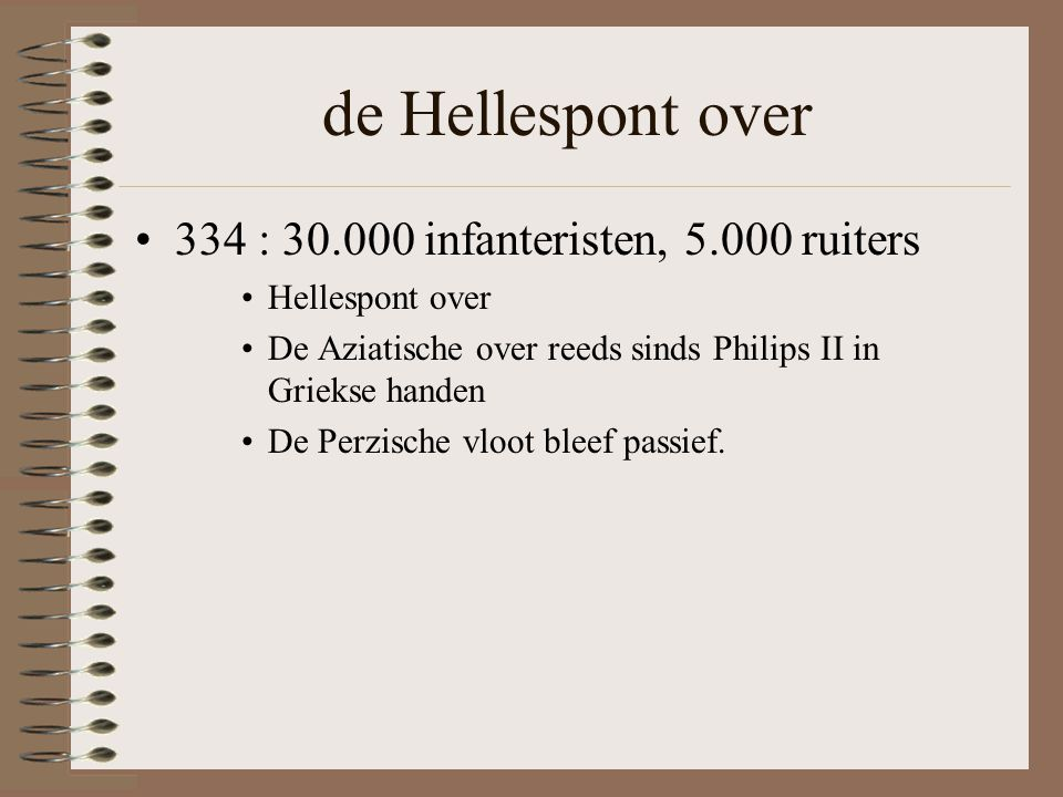 de Hellespont over 334 : infanteristen, ruiters