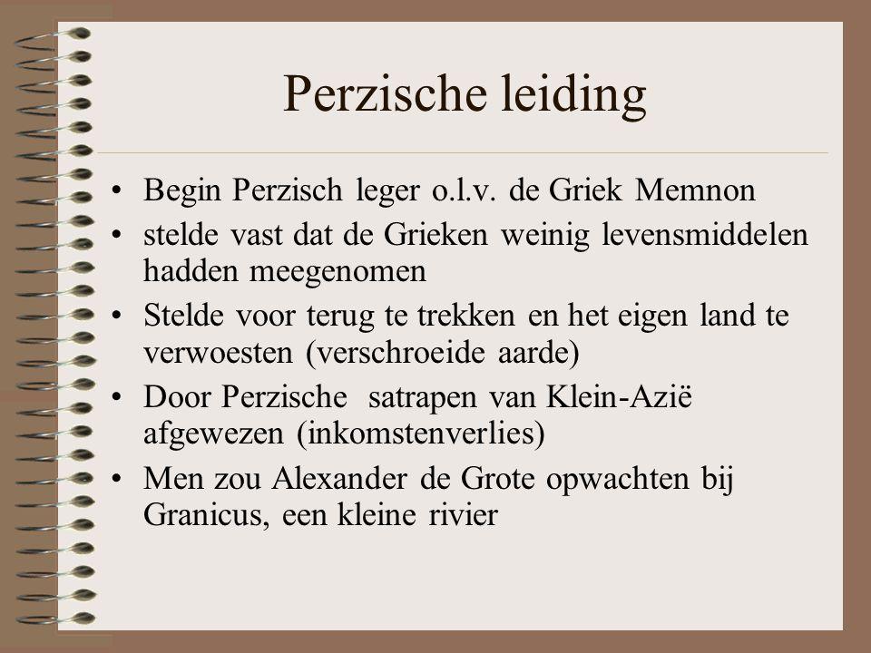 Perzische leiding Begin Perzisch leger o.l.v. de Griek Memnon