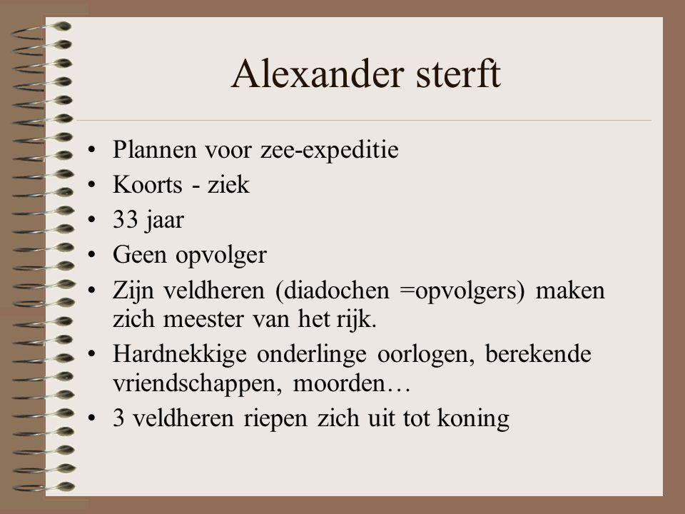 Alexander sterft Plannen voor zee-expeditie Koorts - ziek 33 jaar