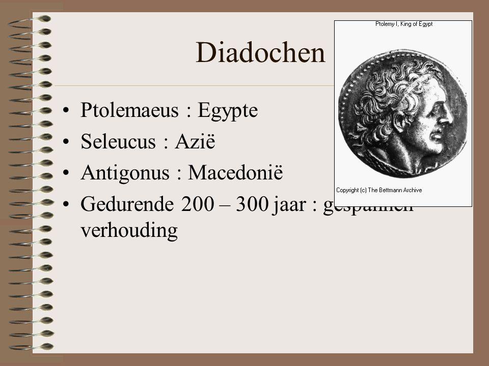 Diadochen Ptolemaeus : Egypte Seleucus : Azië Antigonus : Macedonië