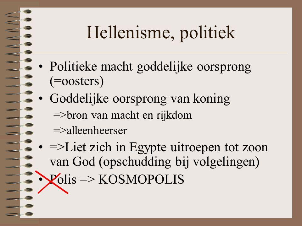 Hellenisme, politiek Politieke macht goddelijke oorsprong (=oosters)