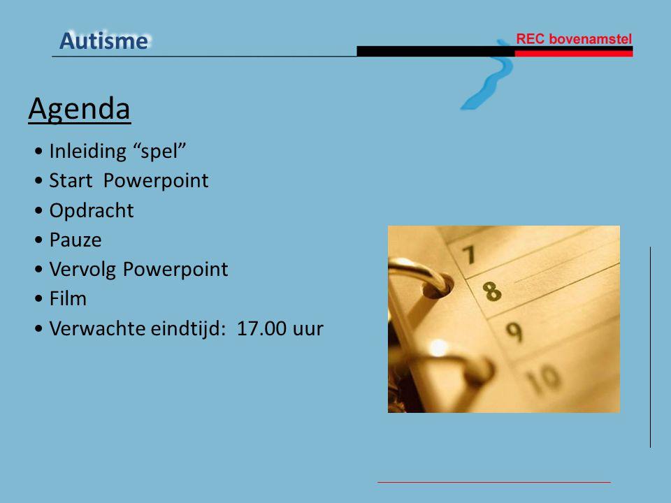 Agenda Inleiding spel Start Powerpoint Opdracht Pauze