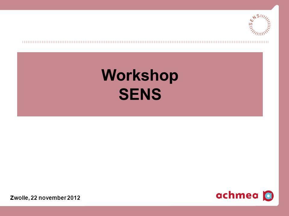 Workshop SENS Zwolle, 22 november 2012