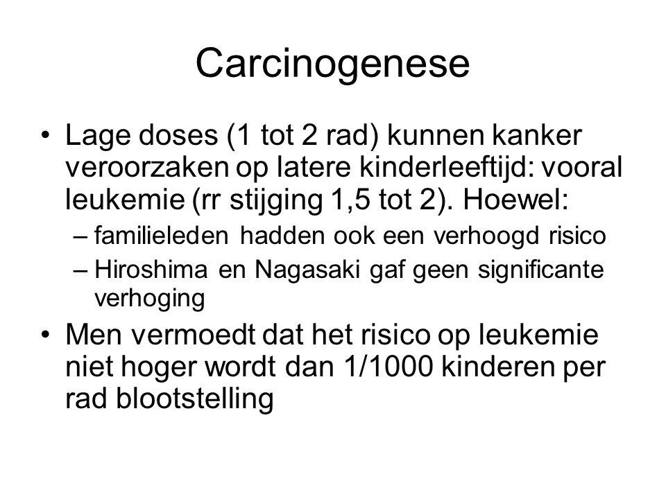Carcinogenese Lage doses (1 tot 2 rad) kunnen kanker veroorzaken op latere kinderleeftijd: vooral leukemie (rr stijging 1,5 tot 2). Hoewel: