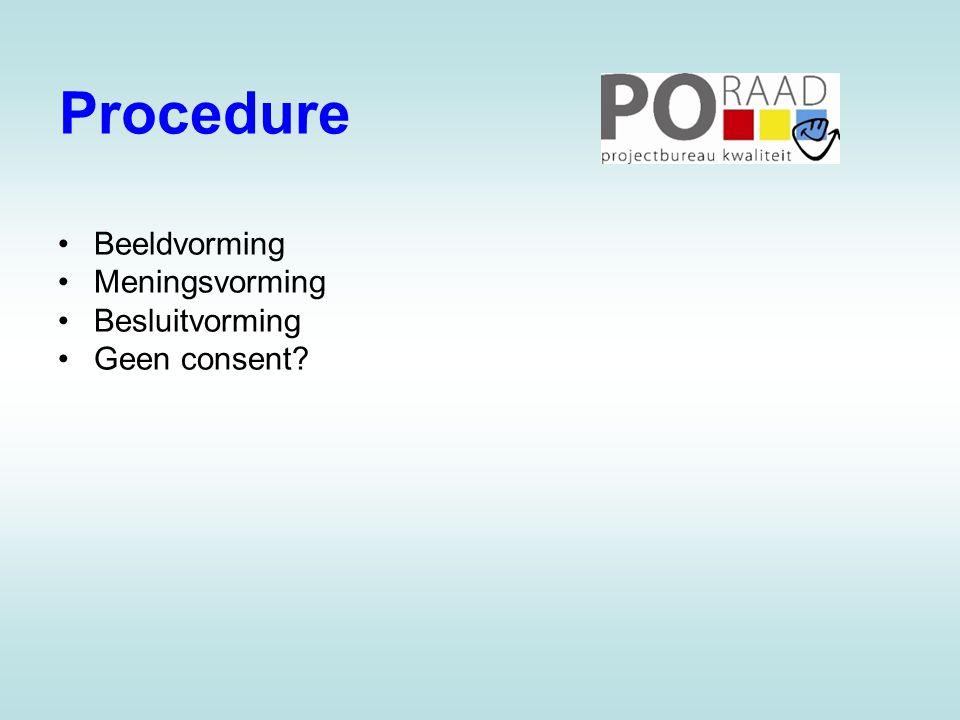 Procedure Beeldvorming Meningsvorming Besluitvorming Geen consent