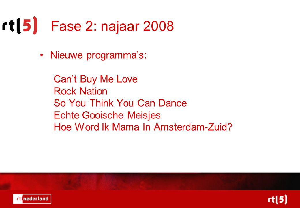 Fase 2: najaar 2008 Nieuwe programma's: Can't Buy Me Love Rock Nation