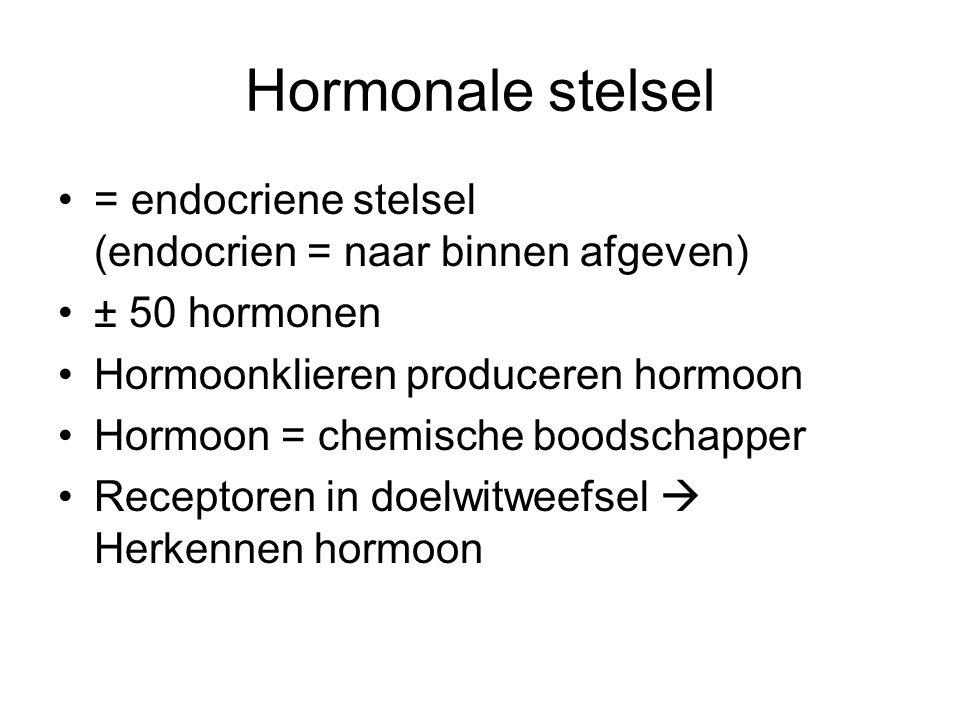 Hormonale stelsel = endocriene stelsel (endocrien = naar binnen afgeven) ± 50 hormonen. Hormoonklieren produceren hormoon.
