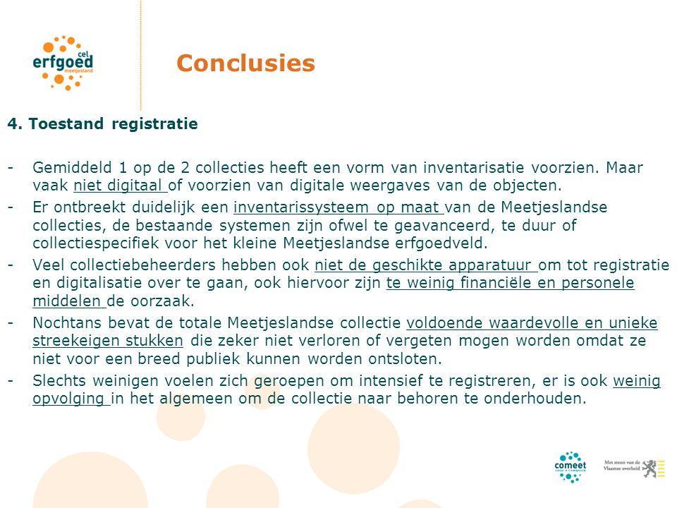 Conclusies 4. Toestand registratie