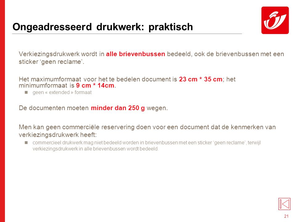 4° Ongeadresseerd drukwerk: tarieven