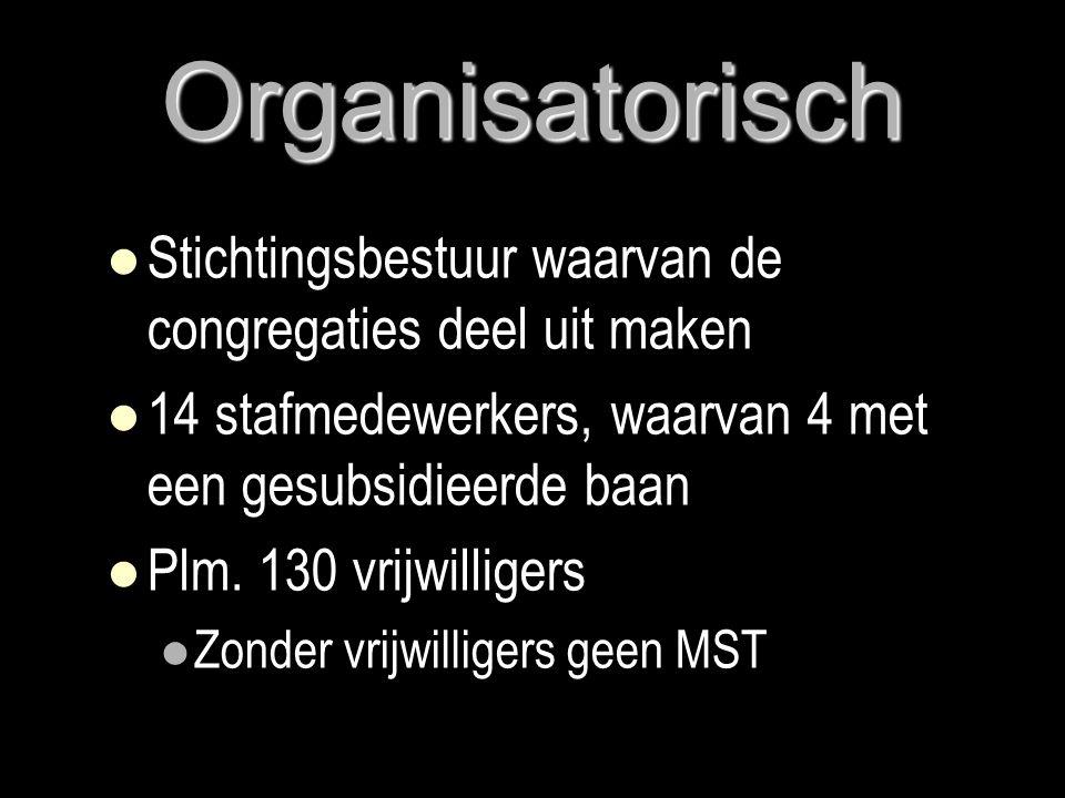 Organisatorisch Stichtingsbestuur waarvan de congregaties deel uit maken. 14 stafmedewerkers, waarvan 4 met een gesubsidieerde baan.