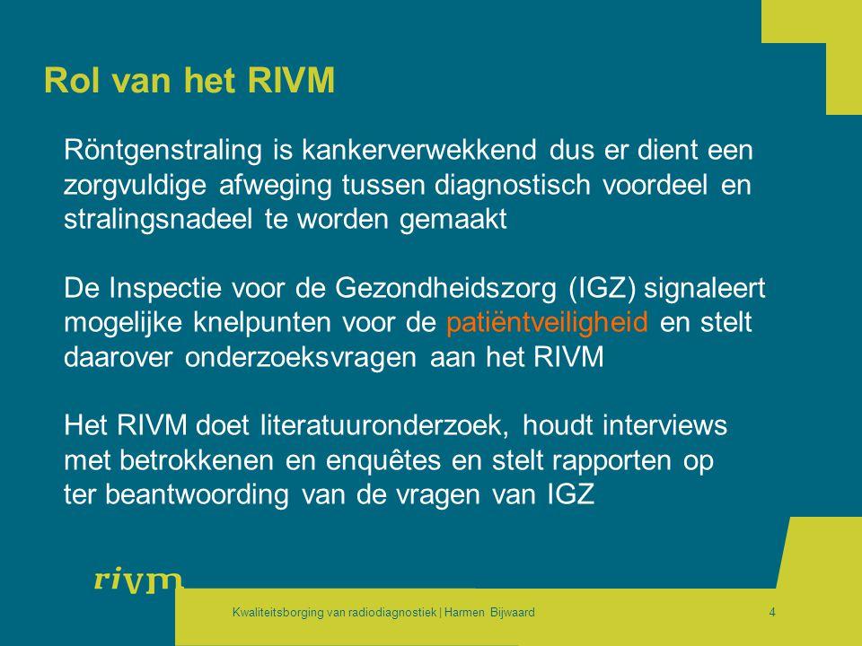 Rol van het RIVM Röntgenstraling is kankerverwekkend dus er dient een