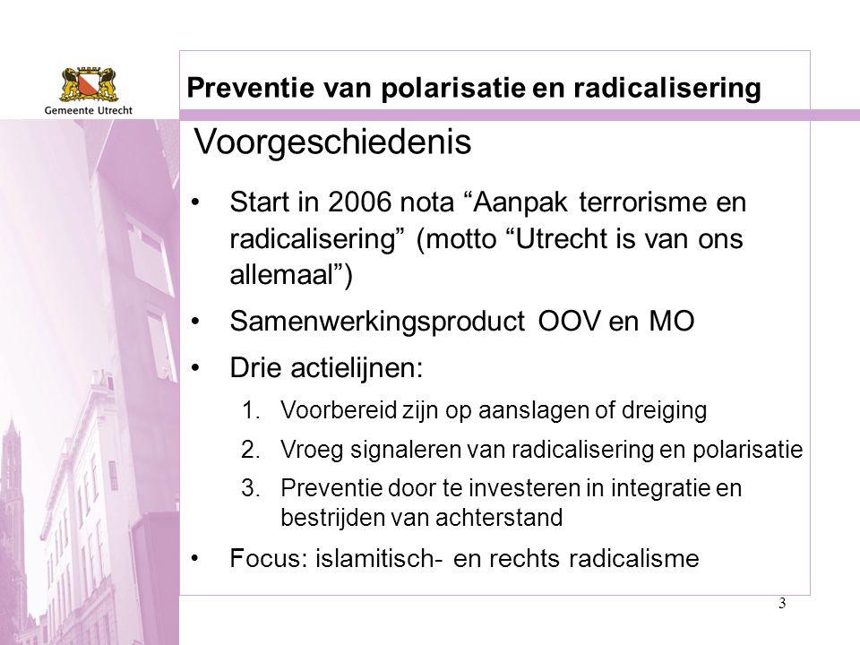 Voorgeschiedenis Preventie van polarisatie en radicalisering