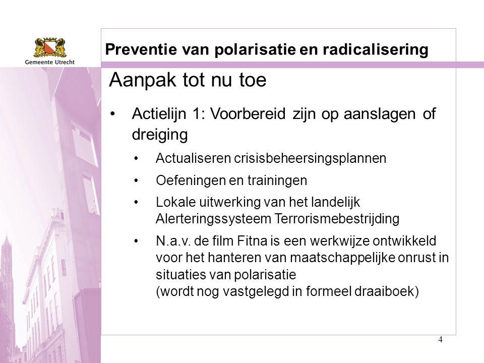 Aanpak tot nu toe Preventie van polarisatie en radicalisering