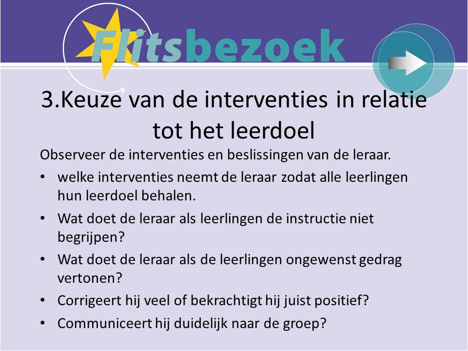 3.Keuze van de interventies in relatie tot het leerdoel