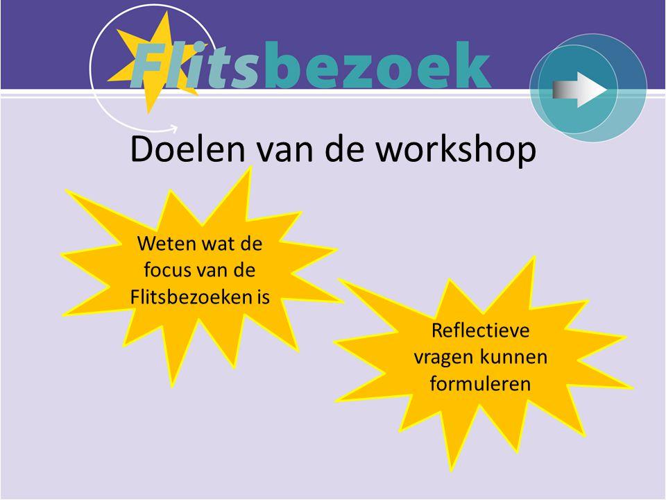 Doelen van de workshop Weten wat de focus van de Flitsbezoeken is